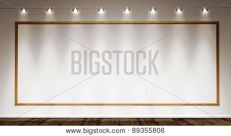 golden frame on white wall