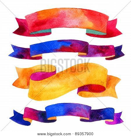 Watercolor ribbons and banners for text.  Collection of Watercolor design elements, backgrounds, lab