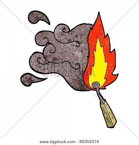 cartoon struck match burning