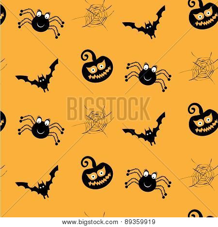 One halloween, simple, seamless pattern with black spiders, smiling pumkins, bats, spider webs, oran