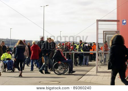Entrance for wheelchair users to soccer match