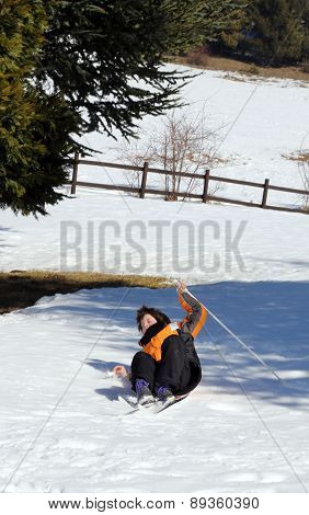 Inexperienced Young Boy Trying For The First Time The Cross-country Skiing