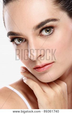Beautiful Face Of An Atrractive Woman Looking At Camera