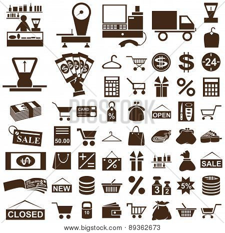 Shop And Seller Icons On White