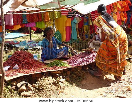 Indian Woman Sells Chili Peppers