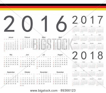Set Of German 2016, 2017, 2018 Year Vector Calendars