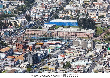 Quito, Ecuador - April 15 2014: Aerial view of the northern sector of downtown Quito, the Major Seminary at Av. America Columbus and La Gasca.
