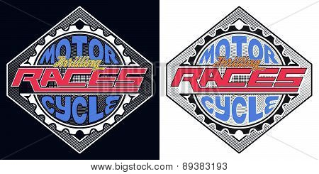 Motorcycle Thrilling Races Badge, T-shirt Typography Graphics De