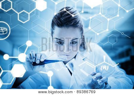 Science graphic against scientist pouring liquid into erlenmeyer with futuristic screen showing formula