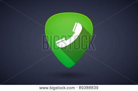 Green Guitar Pick Icon With A Phone