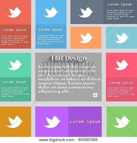 Social Media, Messages Twitter Retweet Icon Sign. Set Of Multicolored Buttons. Metro Style With Spac