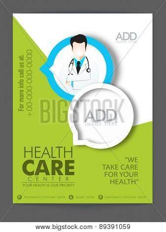Stylish flyer or template presentation with proper image and content place holders for Health Care Center.