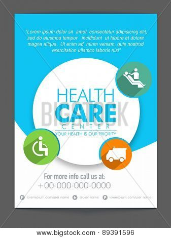 White and blue flyer with colorful medical icons for Health Care Center.
