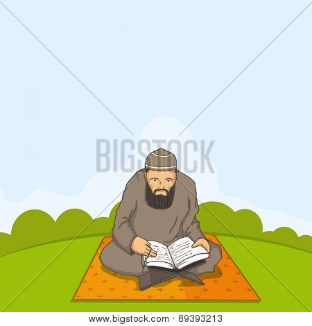 A Muslim man in traditional dress reading Islamic religious book Quran Shareef for holy month Ramadan Kareem celebration.  poster