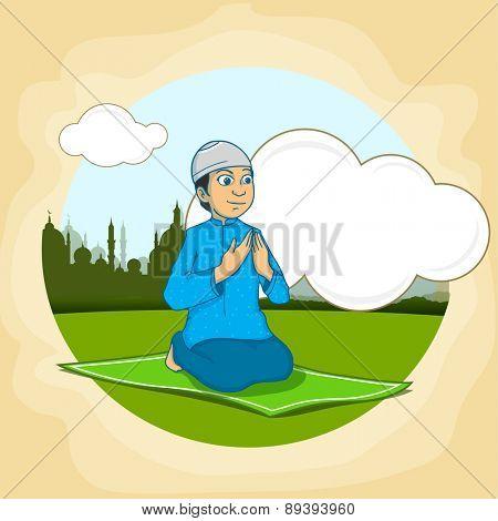 Islamic holy month of prayers, Ramadan Kareem celebration with illustration of a Muslim boy offering Namaz (Islamic Prayer) on nature background.