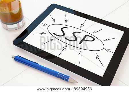 SSP - Supply Side Platform - text concept on a mobile tablet computer on a desk - 3d render illustration. poster