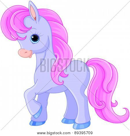Illustration of very cute fairytale pony