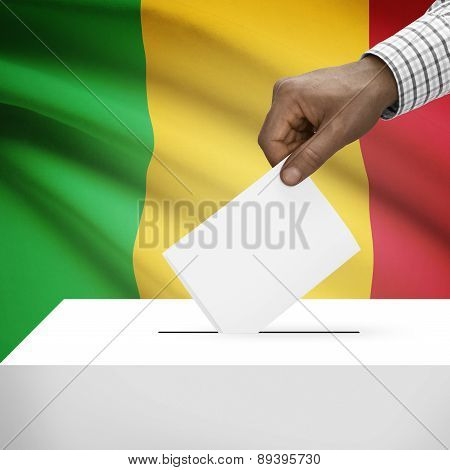Ballot Box With National Flag On Background - Mali