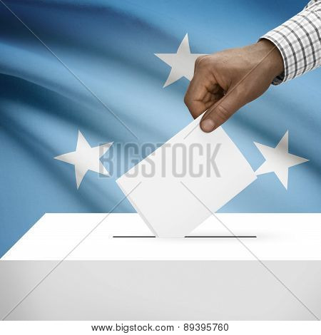 Ballot Box With National Flag On Background - Federated States Of Micronesia