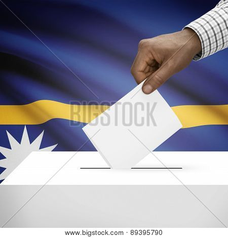 Ballot Box With National Flag On Background - Nauru
