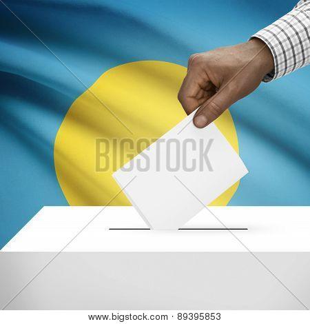 Ballot Box With National Flag On Background - Palau