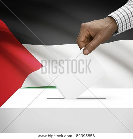Ballot Box With National Flag On Background - State Of Palestine