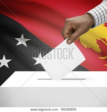 Ballot Box With National Flag On Background - Papua New Guinea