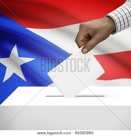 Ballot Box With National Flag On Background - Puerto Rico