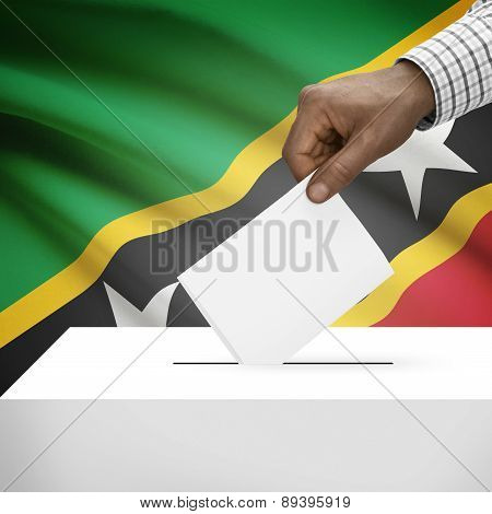 Ballot Box With National Flag On Background - Saint Kitts And Nevis