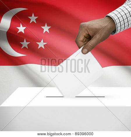 Ballot Box With National Flag On Background - Singapore