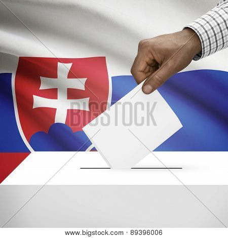 Ballot Box With National Flag On Background - Slovakia