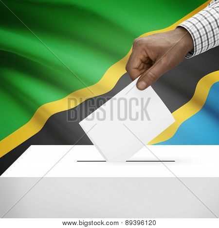 Ballot Box With National Flag On Background - Tanzania