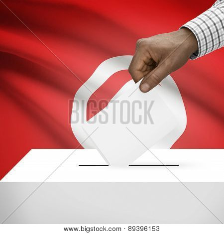 Ballot Box With National Flag On Background - Tunisia