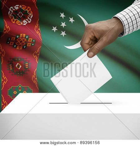Ballot Box With National Flag On Background - Turkmenistan