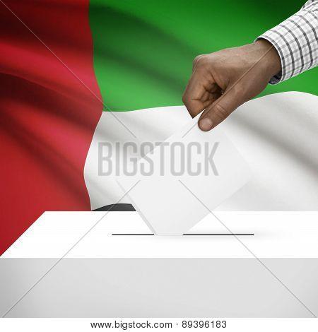 Ballot Box With National Flag On Background - United Arab Emirates