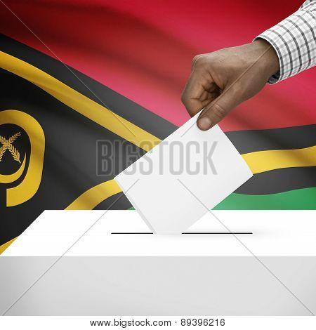 Ballot Box With National Flag On Background - Vanuatu