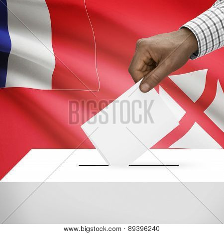 Ballot Box With National Flag On Background - Territory Of The Wallis And Futuna Islands