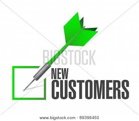 New Customer Check Dart Sign Concept