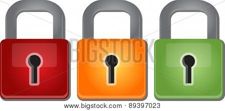 Illustration concept clipart of multicolored red yellow green lock security glossy design vector