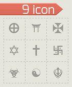 Vector religious symbols icon set on grey background poster