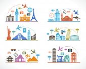Set infographic design with travel icons and airplane. Flat design travel background. concept of traveling around the world. Famous international landmarks.  poster