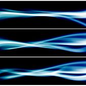 Three bright blue glow header neon swoosh line abstract layout. Vector illustration poster