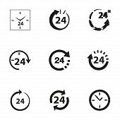 Vector 24 hours icon set on white background poster