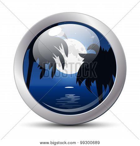 Tropical Night Icon. Vector