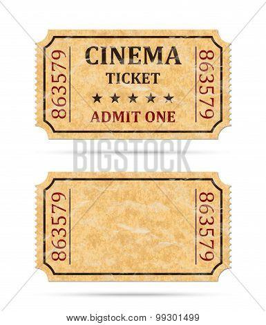 Retro Cinema Ticket And Empty Ticket