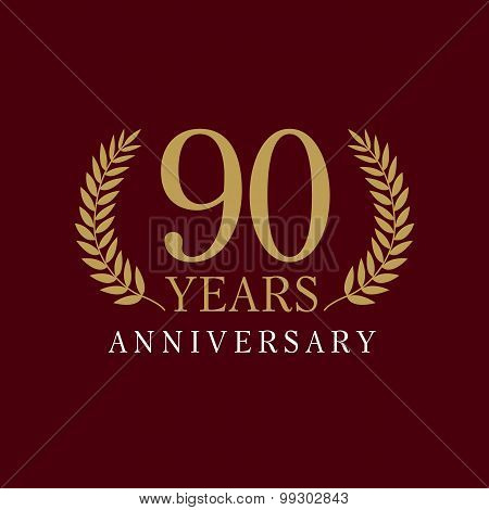 90 years old luxurious logo. Anniversary year of 90 th vector gold colored template framed of palms. Greetings ages celebrates. Celebrating tradition branches. 9 th place symbol of victory and success