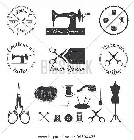 Set of vintage tailor labels, logo and designed elements poster