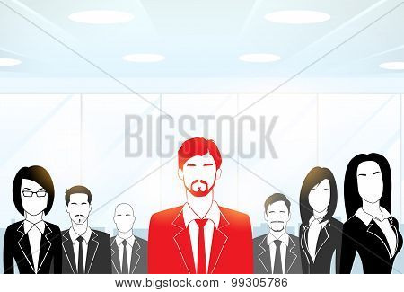 Red Businessman Silhouette, Black Business People Group Team