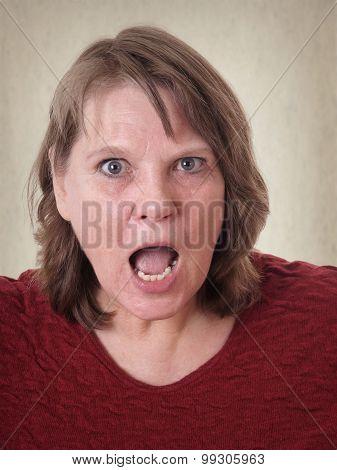 senior woman in shock