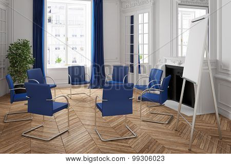 Business meeting with chair circle in an elegant room (3D Rendering)